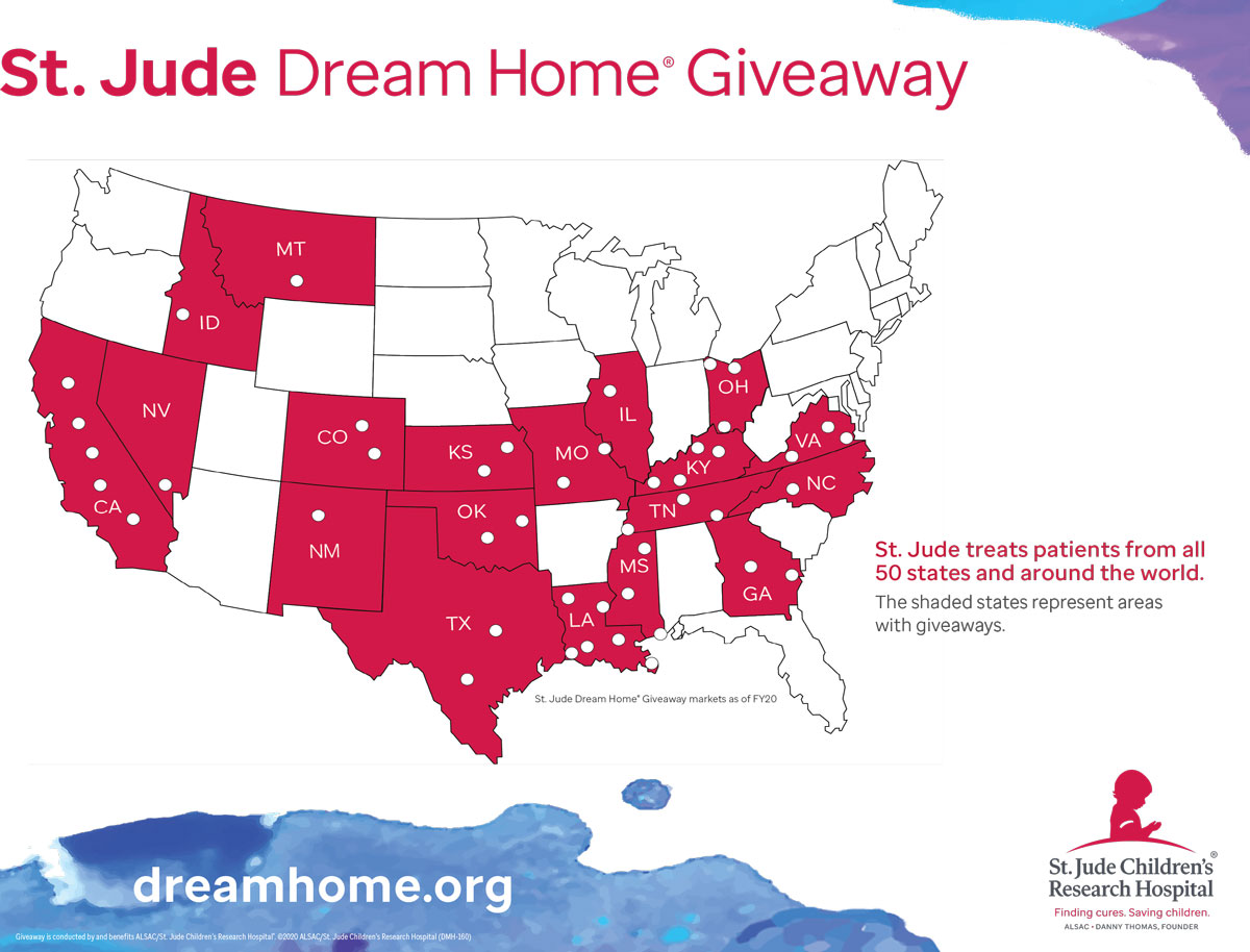 St. Jude Dream Home Giveaway Map